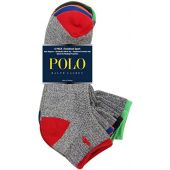 Polo Tipped Sport Quarter Socks 6 Pack Grey One Size