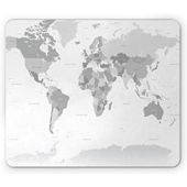 Ambesonne Grey Mouse Pad, Detailed World Map with All Countries Major Capital Cities Universe Earth Continents, Rectangle Non-Slip Rubber Mousepad, Standard Size, Grey White