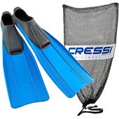 Cressi Clio Full Made in Italy Foot Fins with Bag, Blue, EU Size 43/44 - US Men's 8.5/9.5