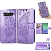 Galaxy S10 Plus Wallet Case,YTanazing Premium Emboss Butterfly Flip Wallet Shell PU Leather Magnetic Cover Skin with Wrist Strap Case (Purple)