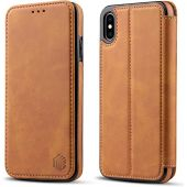 WenBelle Slim Wallet Case for Apple iPhone Xs Max 6.5 inch,Leather case Premium PU Leather Folio Flip Cover with Kickstand and Credit Slots (Brown)