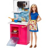 Barbie Kitchen and Doll, Multicolor