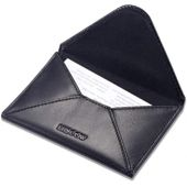 HISCOW Envelope Business Card Case with Magnet Closure - Italian Calfskin (Black)