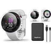 Garmin Forerunner 45S GPS Running Watch Power Bundle   Includes PlayBetter Portable Charger & HD Screen Protectors   Running Heart Rate Watch   Pace, Distance, Stress Tracking   White, 010-02156-0