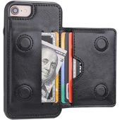 KIHUWEY iPhone 7 Wallet Case iPhone 8 iPhone SE 2020 Wallet Case with Credit Card Holder, Premium Leather Kickstand Durable Shockproof Protective Cover for iPhone 7/8/SE 4.7 Inch(Black)