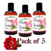 PACK of 3 Premium Organic Moroccan Rose Water - 4oz - Imported From Morocco - 100% Pure (Food Grade) No Oils or Alcohol - Rich in Vitamin A & C Perfect for Hydrating & Rejuvenating Your Face & Neck
