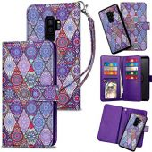 HianDier Case for Galaxy S9 Plus Wallet Cases with Card Holder 9 Slots Detachable PU Leather Flip Cover Shockproof Magnetic Clasp Lanyard Dual Layer Case for Samsung Galaxy S9 Plus, Ethnic Purple