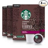 Starbucks Dark Roast K-Cup Coffee Pods  Caff Verona for Keurig Brewers  4 boxes (96 pods total)