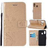Galaxy A30 Case,Galaxy A20 Case Case,[Butterfly Embossed] PU Card Slots & Kickstand Leather Wallet Flip Protective Case Cover with Card Holder and Stand for Samsung Galaxy A30 / Galaxy A20 (Gold)