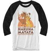 Disney Lion King Hakuna Matata Raglan Style 3/4 Length Sleeve Adult Graphic Shirt