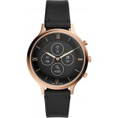 Fossil Women's 42MM Charter HR Heart Rate Stainless Steel and Silicone Hybrid HR Smart Watch, Color: Rose Gold/Black (Model: FTW7011)