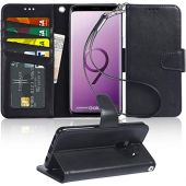 Arae Case Compatible for Samsung Galaxy S9 Plus, [Wrist Strap] Flip Folio [Kickstand Feature] PU Leather Wallet case with ID&Credit Card Pockets [Not for Galaxy S9] - Black