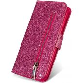 ZCDAYE Wallet Case for Galaxy S10e,Bling Glitter Sparkly Zipper PU Leather Magnetic Flip Folio Card Pockets Holder with Wrist Strap Stand Protective Case Cover for Samsung Galaxy S10e - Pink