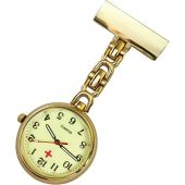 Nurses Pin-on Lapel Watch (Infection Control) Metal D Linked - Gold with Glow-in-The-Dark Dial