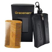 Coarse & Fine Tooth Beard Comb Kit for Men - Handmade Premium Sandal Wood - Great for Head Hair, Beard & Mustache - with Gift Box & Leather Case