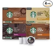 Starbucks Black Coffee K-Cup Coffee Pods - Variety Pack for Keurig Brewers - 4 Boxes (96 Pods Total)