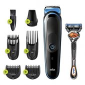 Braun Hair Clippers for Men MGK3245 7-in- Beard Trimmer, Detail Trimmer, Cordless & Rechargeable with Gillette ProGlide Razor, Blue, 1 Count