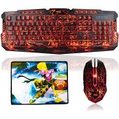 TNI Backlit Earth Crack Gaming Keyboard & Mouse Combo, 3 Color Keyboard, 4 Color Mouse, Mechanical Feel, 19 Keys No Conflict, Multimedia Control