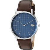 Lacoste Men's Stainless Steel Quartz Watch with Leather Strap, Brown, 20 (Model: 2011003)