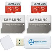 Samsung 64GB Evo Plus MicroSD Card (2 Pack EVO+) Class 10 SDXC Memory Card with Adapter (MB-MC64) Bundle with (1) Everything But Stromboli Micro & SD Card Reader