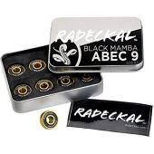 RADECKAL Black Mamba ABEC 9 Skateboard Bearings with Built in Spacers for Skateboards, Longboards, Cruisers, Pre-Lubricated, High Precision Rating, Long Lasting, 608 RS