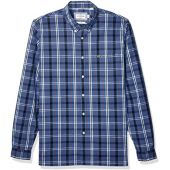 Lacoste Mens Long Sleeve Poplin Stretch Gingham Woven Slim Button Down Shirt