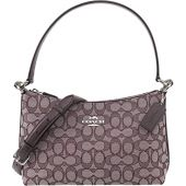 Coach Women's Small Lewis Outline Signature Jacquard Shoulder Crossbody Bag, Style F88899, SV Raspberry