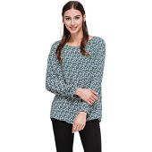 Pleione Solid Chiffon Long Sleeve Blouse in Round Neck