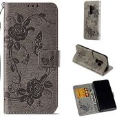 Galaxy S9 Plus Case, ZERMU Premium PU Leather Flower Butterfly Pattern Flip Wallet Case with Kickstand Card Holder ID Slot and Hand Strap Shockproof Protective Cover for Samsung Galaxy S9 Plus 6.2