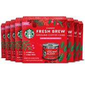 Starbucks Medium Roast Fresh Brew Ground Coffee Cans  Starbucks Holiday Blend  8 boxes (4 cans ea)