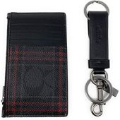 Coach Boxed Zip Card Case and Valet Key FOB Gift Set in Signature Canvas (BLACK RED MULTI)