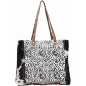 Myra Bag Cotton & Cowhide Upcycled Canvas Tote Bag S-1136